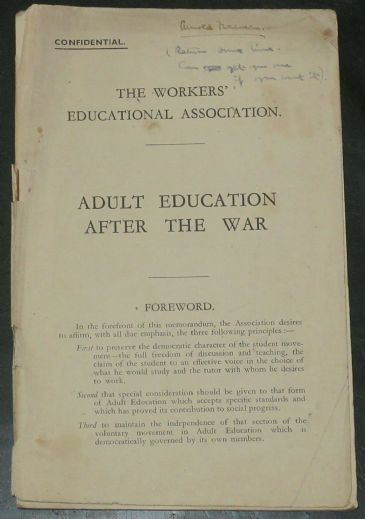 Adult Education After the War, by the Workers Educational Association (Pub. 1942)